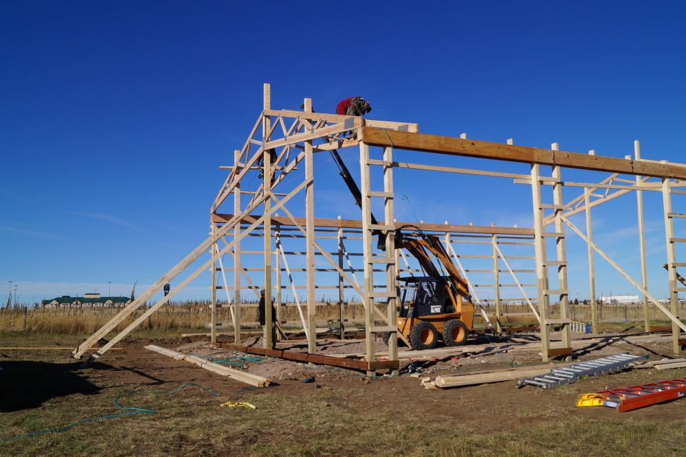 Building process mqs structures for Roof trusses installation