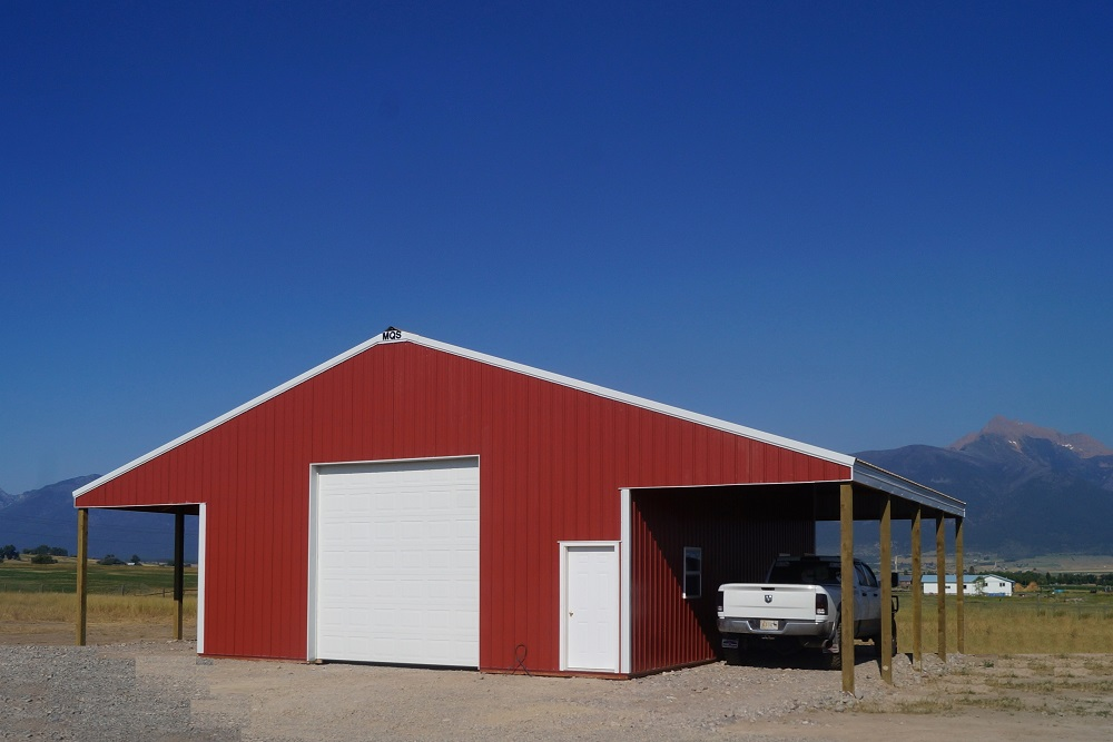 red garage in a field